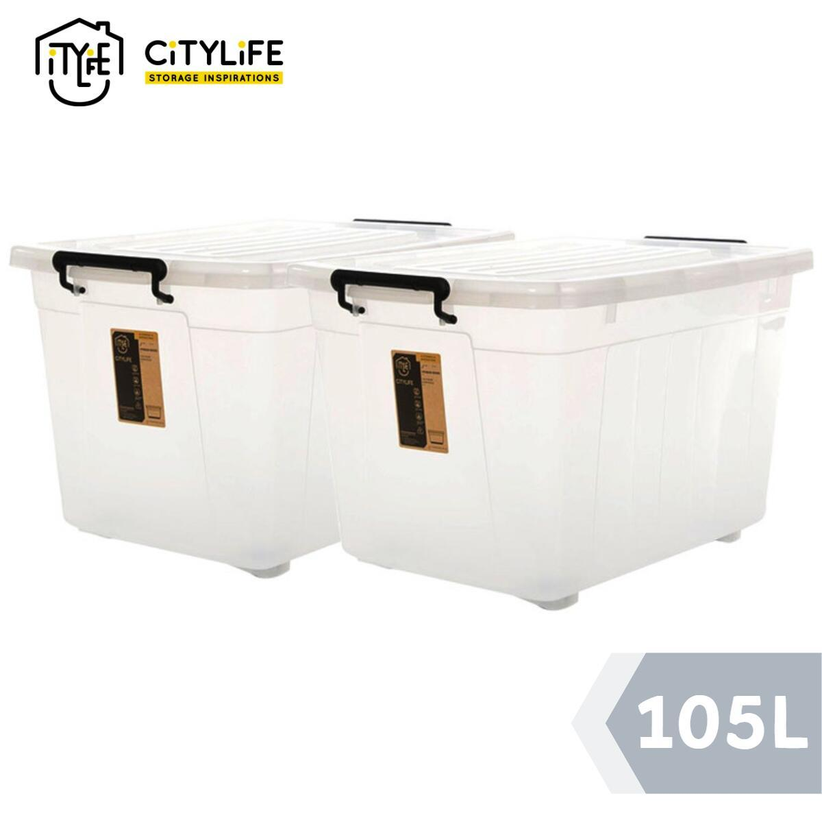 [Bundle of 2] - Citylife Large Storage Container With Wheels 105L
