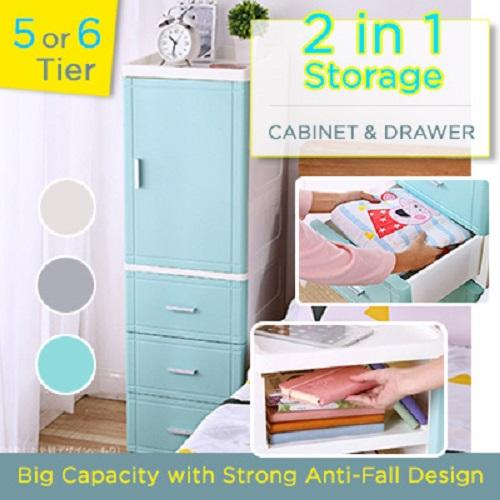 Cabinet and Drawer Storage 5 / 6 / 7 Tier Minimalist Slim Style Store Big capacity waterproof wheel anti-fall drawer