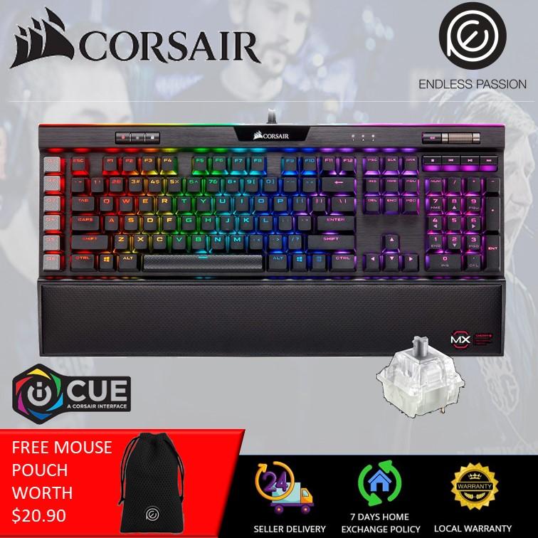 CORSAIR K95 RGB Platinum XT Mechanical Gaming Keyboard, Backlit RGB LED, Cherry MX Speed RGB Silver, Black Singapore