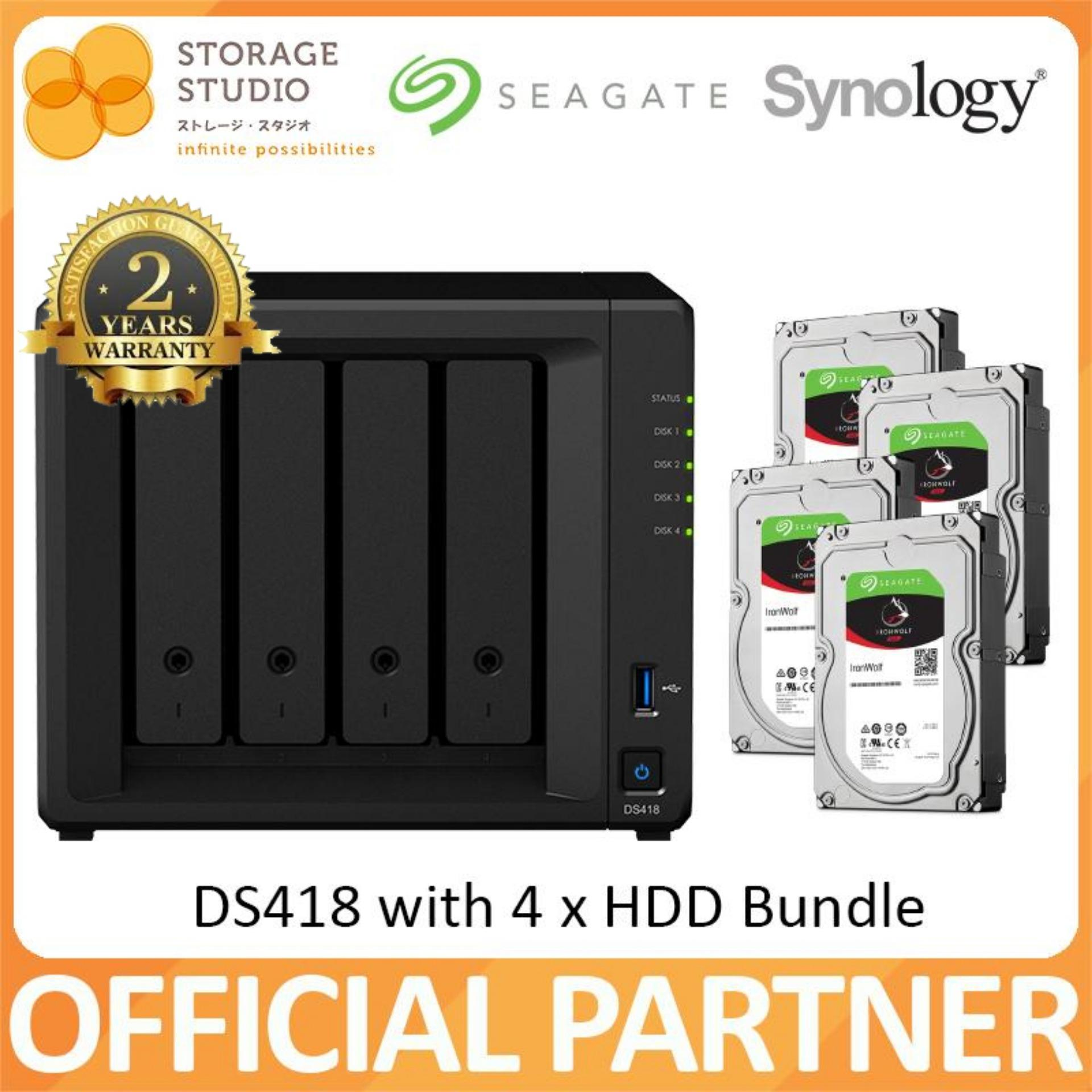 SYNOLOGY NAS DS418 4 BAY NAS (4 x Seagate Ironwolf (2TB/3TB/4TB) HDD Bundle  Series)  Warranty: 2 years  Local Warranty  ** SYNOLOGY Official Partner**