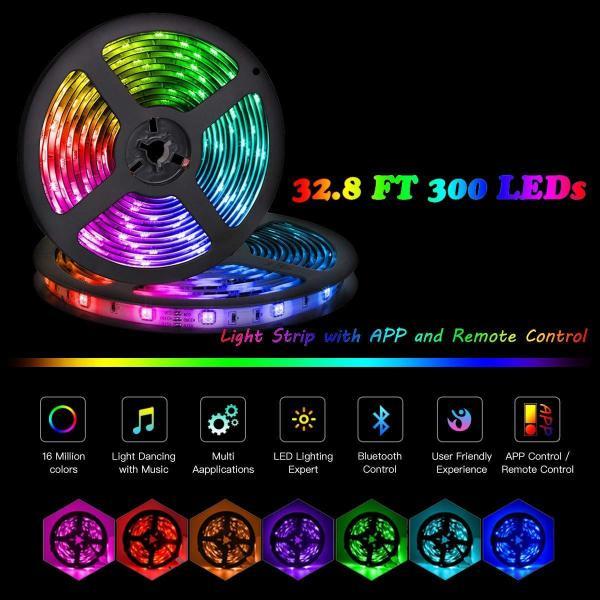 16 Million colors Bluetooth APP DIY Controller RGB 5050 LED Strip Light, LED Lights Sync To Music 10M 300LEDs Strip IR High Sensitive Mic Controller+12V 5A Power