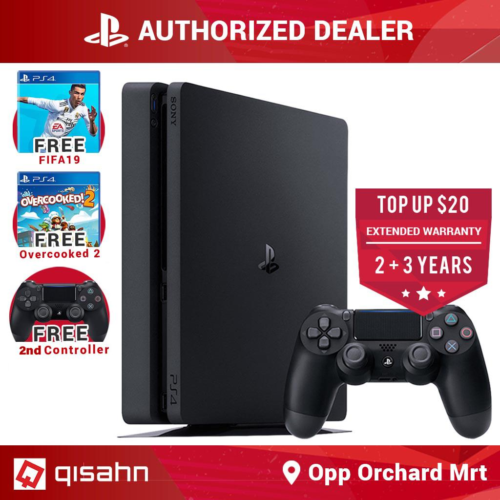 Sony PS4 Slim Playstation 4 Slim Console Starter Pack Bundle 1TB (+FIFA 19,  +Overcooked 2) +FREE 2nd Dualshock 4 Controller (Shipped by 5 Sept 2019)
