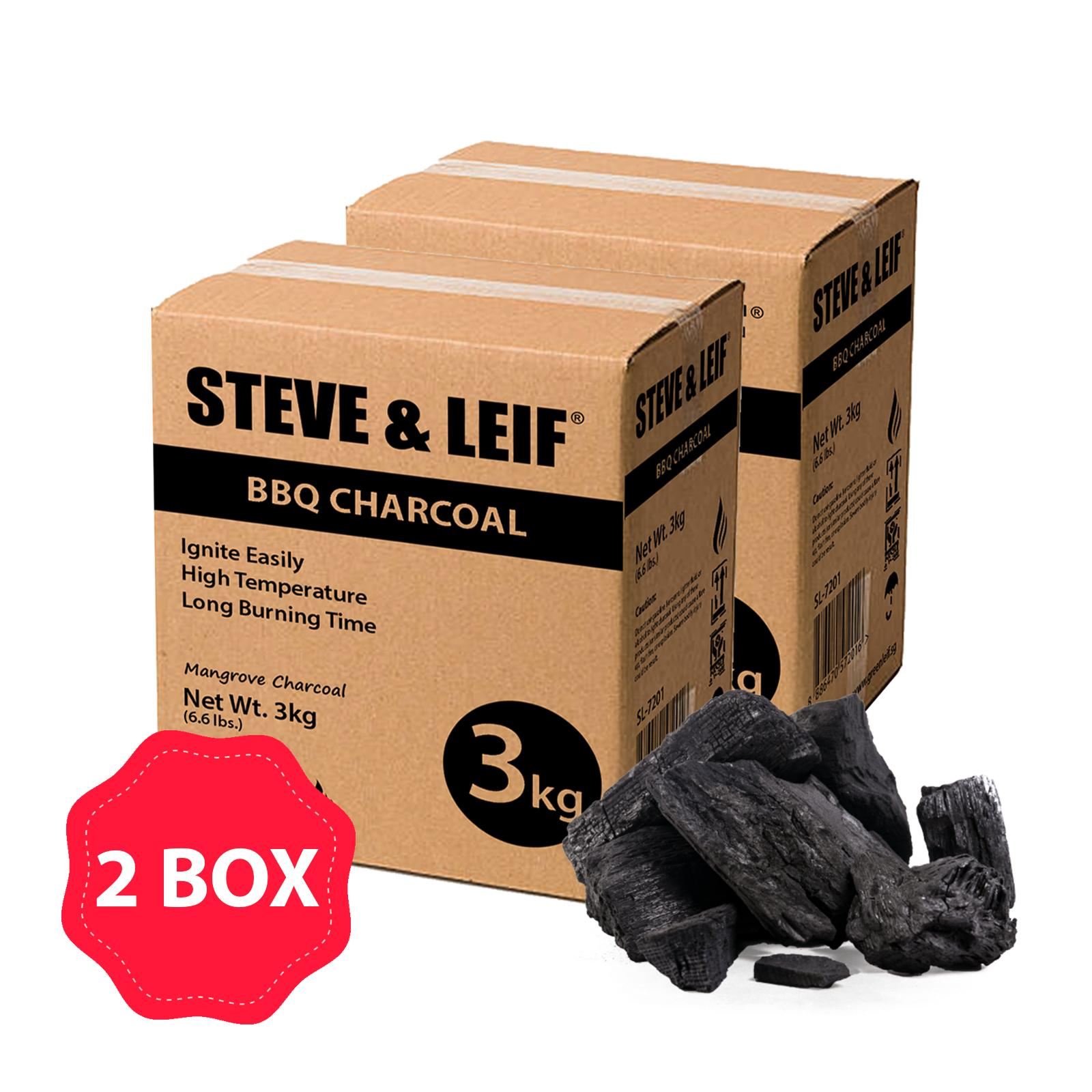 [Bundle of 2] Steve & Leif BBQ / Cooking Mangrove Wood Charcoal (Total 6kg)