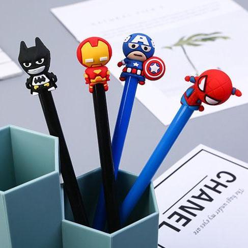 Super Hero Ver 3 Gel Pen Cartoon Black Ink Pen, Kawaii Student Kids Girl Stationery Office Learning Writing Supplies.