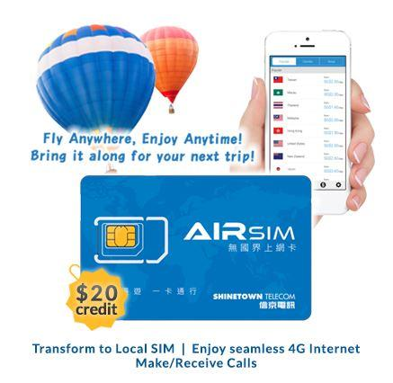 Airsim 3-In-1 Sim Card - Value: $20 4g/3g Fly Anywhere Enjoy Anytime! By Airsim.