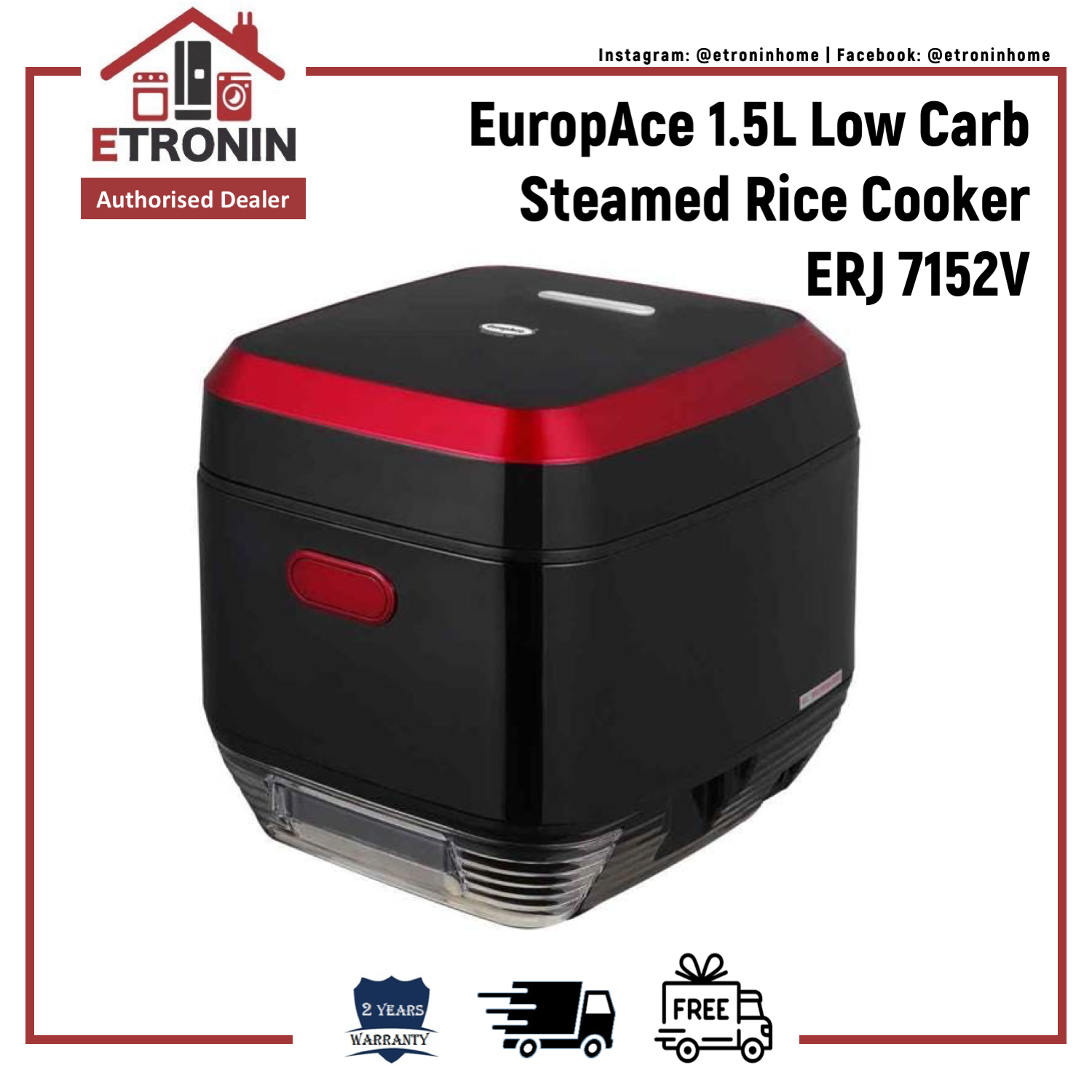 Europace 1.5l Low Carb Steamed Rice Cooker Erj 7152v.