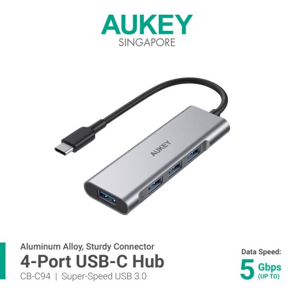 AUKEY CB-C94 USB-C to 4-Port USB 3.0 Aluminium USB Hub Ultra Slim Portable (18 Months Warranty)