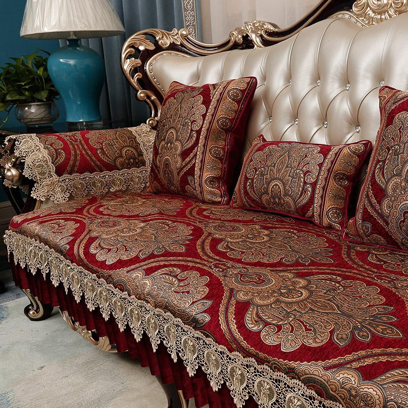European Style Sofa Pad Four Seasons Universal Fabric Living Room 123 Combination Leather Sofa Cushion Cover Full Cover Chenille
