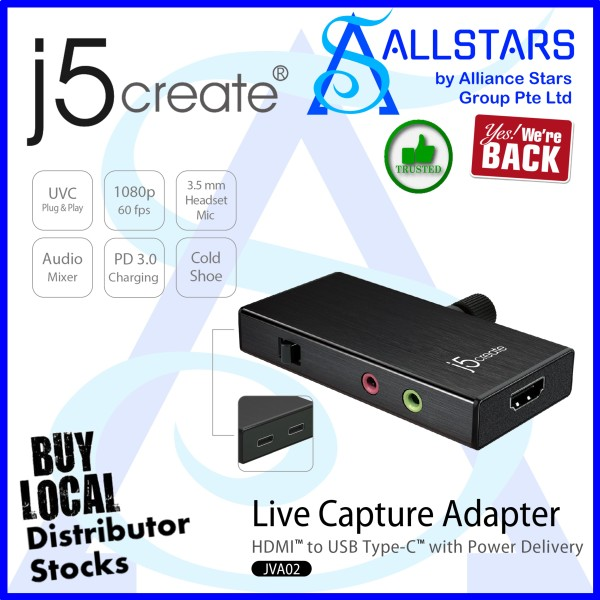 (ALLSTARS : We Are Back Promo) J5CREATE JVA02 Live Capture Adapter HDMI to USB-C with Power Delivery / 1080p HDMI In (For Android / PC/Mac) (Warranty 2years with Digital HUB)