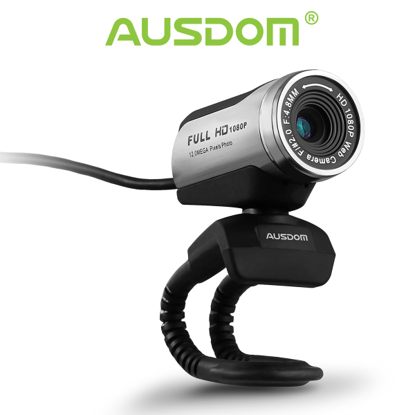 AUSDOM WebCam 1080P PC 12MP Camera with Built-in Microphone (AW615)