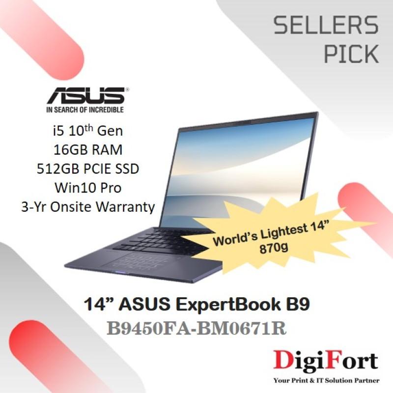 ASUS ExpertBook B9   14 i5-10210U   16GB RAM   512GB SSD Win10 Pro   3-Yr Onsite Warranty   870g (B9450FA-BM0671R)