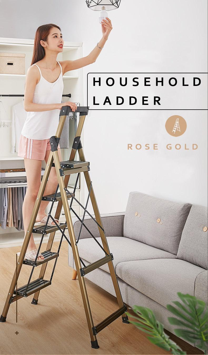 Portable / strong ladder STEEL LARGE BROAD STEP ROSE GOLD LADDER (3 and 5 Steps) 【BroadStep】