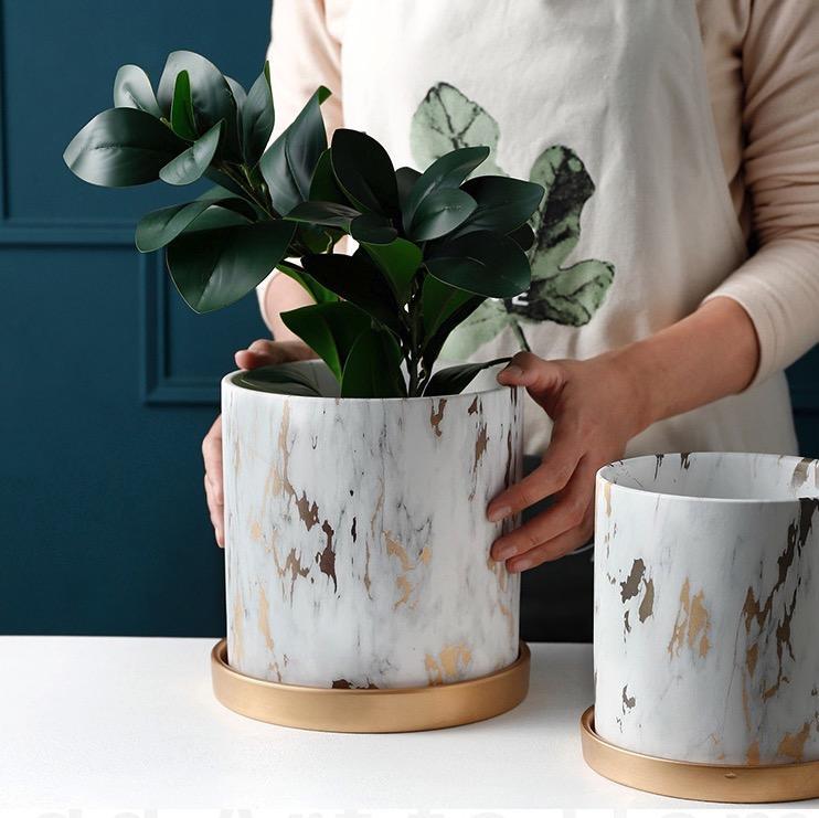 Marble Print Gold Design [1] Ceramic Made Flower / Plant Pot / Planter