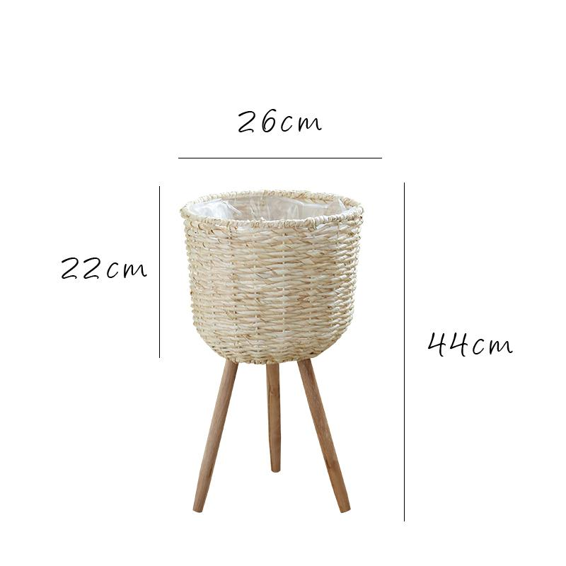 Qimo Floor Flower Stand Straw Baskets Rattan Weaving Flowerpot Ground Decoration Living Room Terrace/Patio Simple Garden Flower Holder