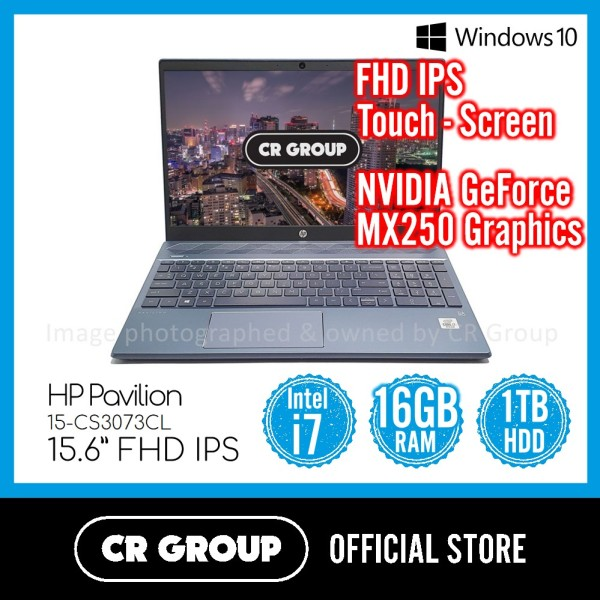 Same Day Delivery Option* HP Pavilion 15-CS3073CL  | Intel® Core™ i7-1065G7 | 16GB DDR4 RAM | 1TB HDD | Full-HD IPS Backlit Touchscreen | NVIDIA GeForce MX250 Graphics (Refurbished)