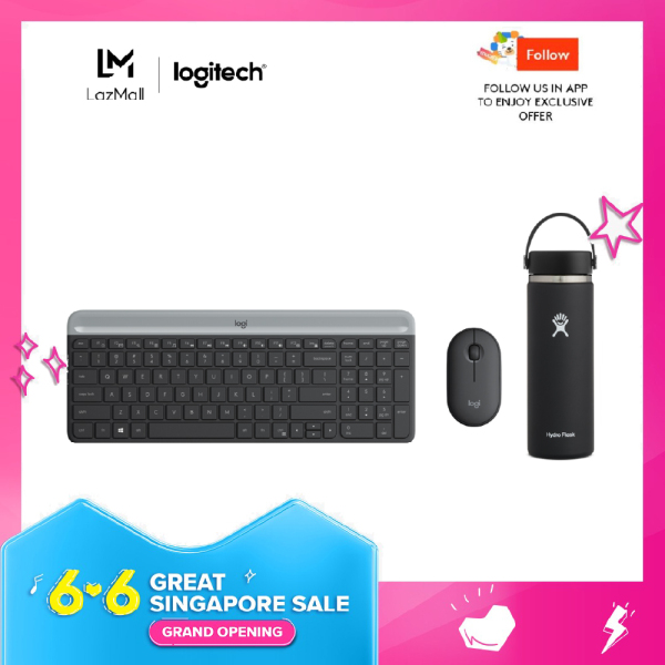 Logitech MK470 Slim, Compact and Quiet Wireless Keyboard and Mouse Combo + Hydro Flask Wide Mouth Flex Cap 20oz Water Bottle Singapore