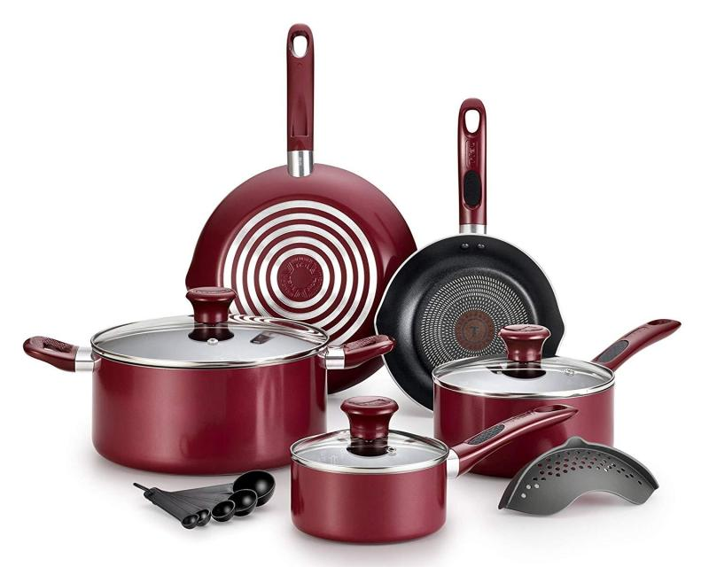 T-fal Excite ProGlide Nonstick Thermo-Spot Heat Indicator Dishwasher Oven Safe Cookware Set, 14pc RED (Will arrive in 7-15 working days)(SG Seller) Singapore