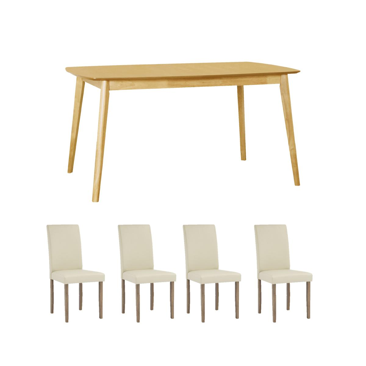 Solid Wood 1.2m Dining Table + 4 Dining Chair. Quality Dining Set with Free Delivery