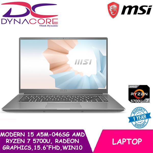 DYNACORE - NEW MSI Modern 15 A5M-046SG AMD Ultrabook Laptop (AMD Ryzen 7 5700U | Radeon Graphics | 15.6 Inch FHD | Win 10 | 1 Year warranty)