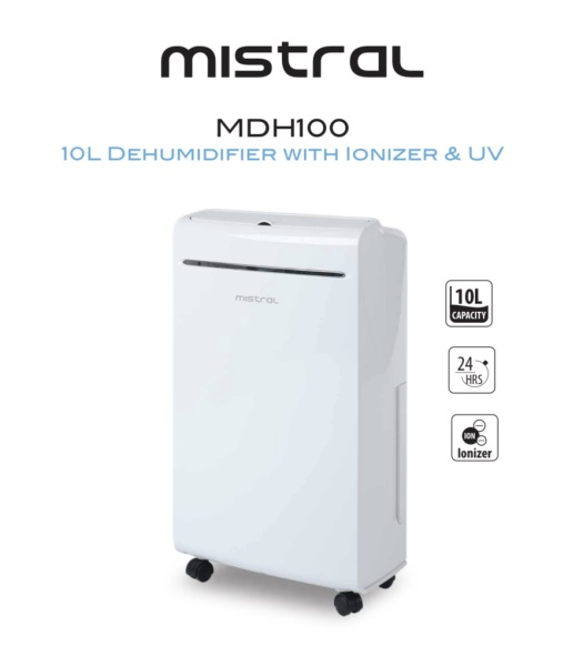 Mistral 10L Dehumidifier with Ionizer & UV (MDH100) Singapore