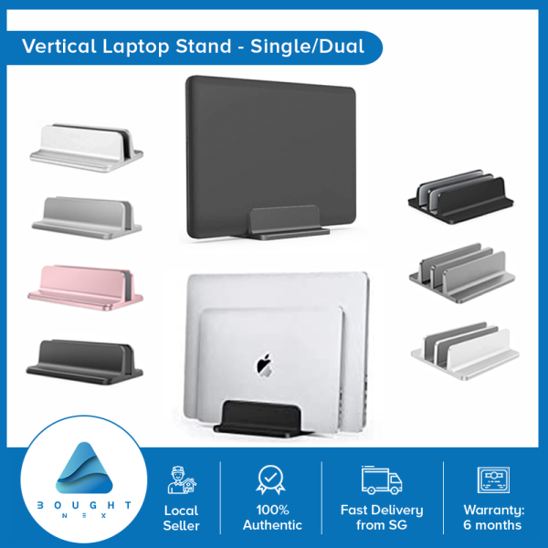 Vertical Laptop Stand Adjustable Width, Single Slot up to 17 inch laptop, Aluminum Dock Black, Silver, Grey, Rose Gold Dual Slot - Black Silver Grey