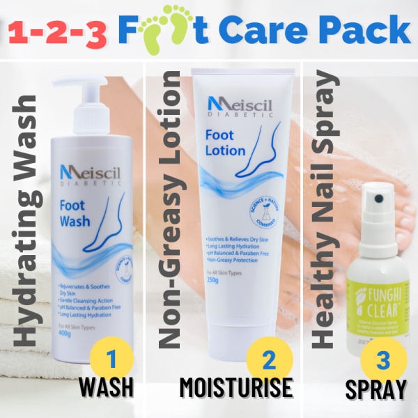 Buy 1-2-3 Foot Care Pack Meiscil Wash + Lotion + Funghiclear Nail Spray Singapore