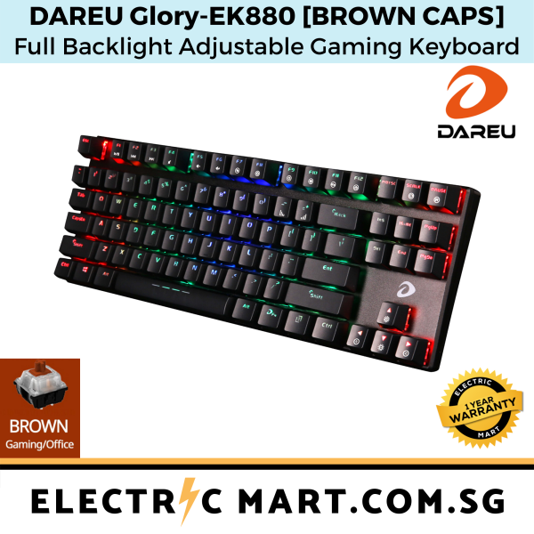 Dareu Glory EK880 RGB 87 Key Tenkeyless Mechanical TKL Gaming Keyboard [BLUE/BROWN/RED], 1 year one-to-one exchange warranty