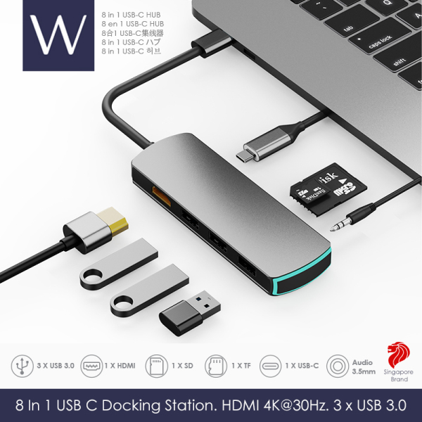 Wistech USB C Type-C Hub 8 in 1 Multifunctional Adapter with HDMI 4K30Hz 2K60Hz PD Chargers USB 3.0 5G-480MB/S High-speed transmission SD card TF card 3.5mm Audio