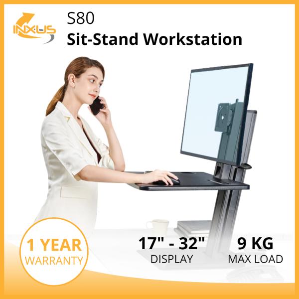 S80 Sit-Stand Workstation / Adjustable Height / Single Monitor Desk Stand / Keyboard Tray / International Vesa Compatible
