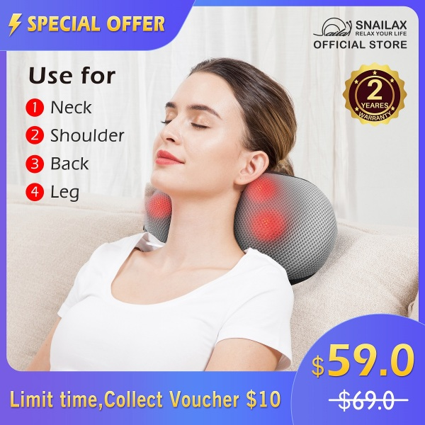 Buy [FREE SHIPPING]SL-618N Snailax Shiatsu Neck Back Massager - Kneading Massage Pillow with Heat, Electric Pillow Massager for Shoulders,Cervical, Lower Back Best Gifts for Women/Men/Mom/Dad | 2 Yrs Warranty | Singapore