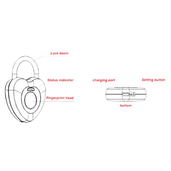 Fingerprint Padlock Waterproof Digital Lock USB Charger Security Lock for School Locker, Gym, Door, Cabinet, Suitcase, Backpack, Luggage