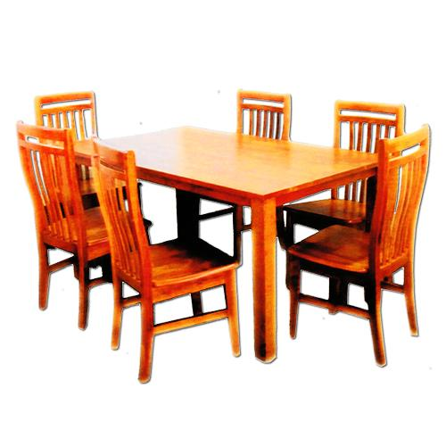 Furniture Living 1+6 Solid Wood Dining Set (Cherry)