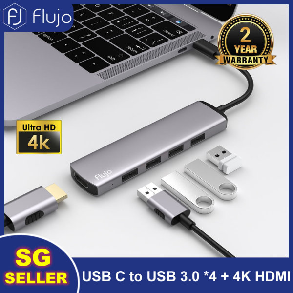 【SG Seller】Flujo 5-in-1 USB Type C HUB with 4K HDMI USB 3.0 Ports Type C Adapter for iPad Air 2020/Macbook Air 4 2020 M1/MacBook Pro 2020/iPad Pro 2020/2018/SAMSUNG S20+/ Lenovo Thinkpad, HDD/SSD