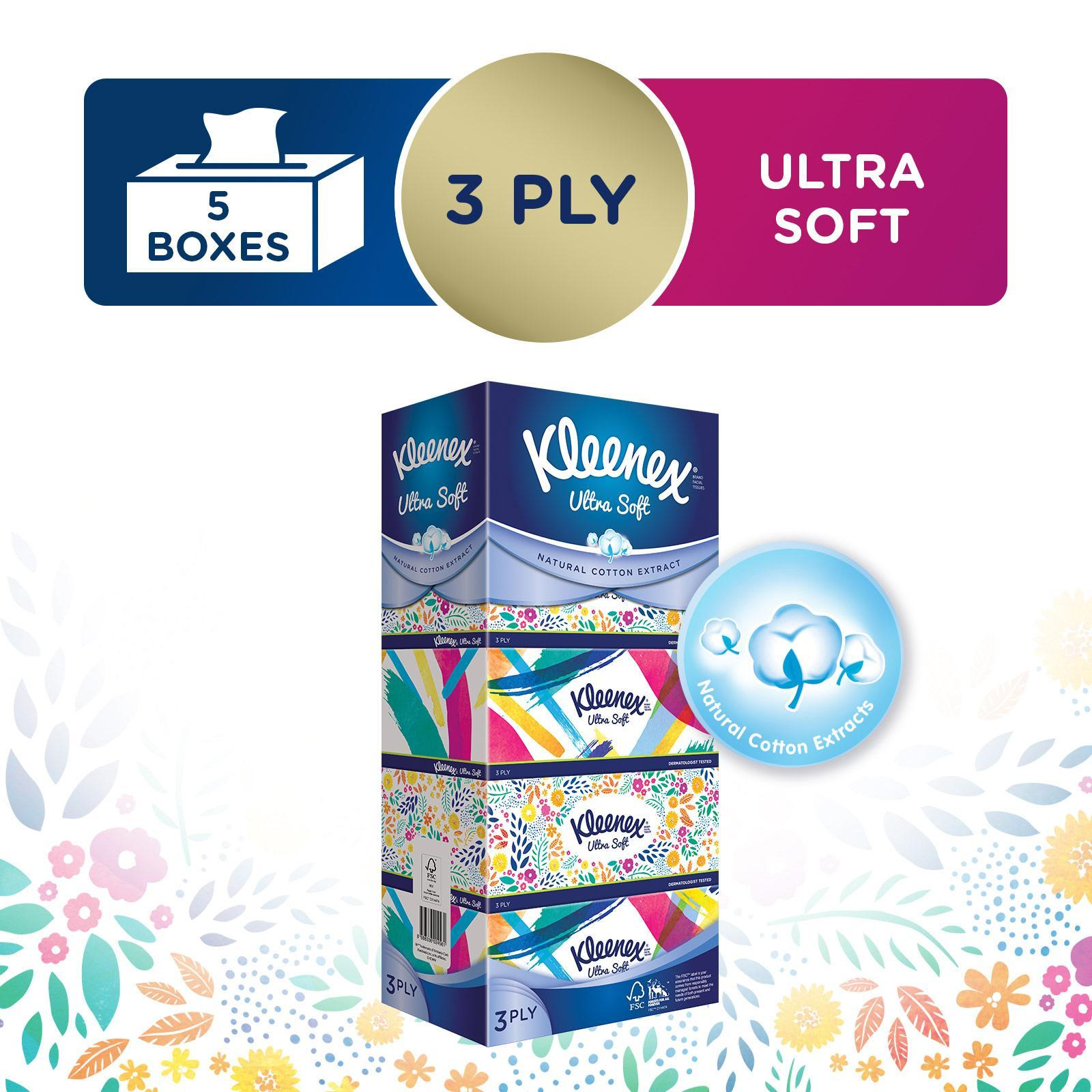 KLEENEX 3 Ply Facial Tissue Floral 5sX100Sheets