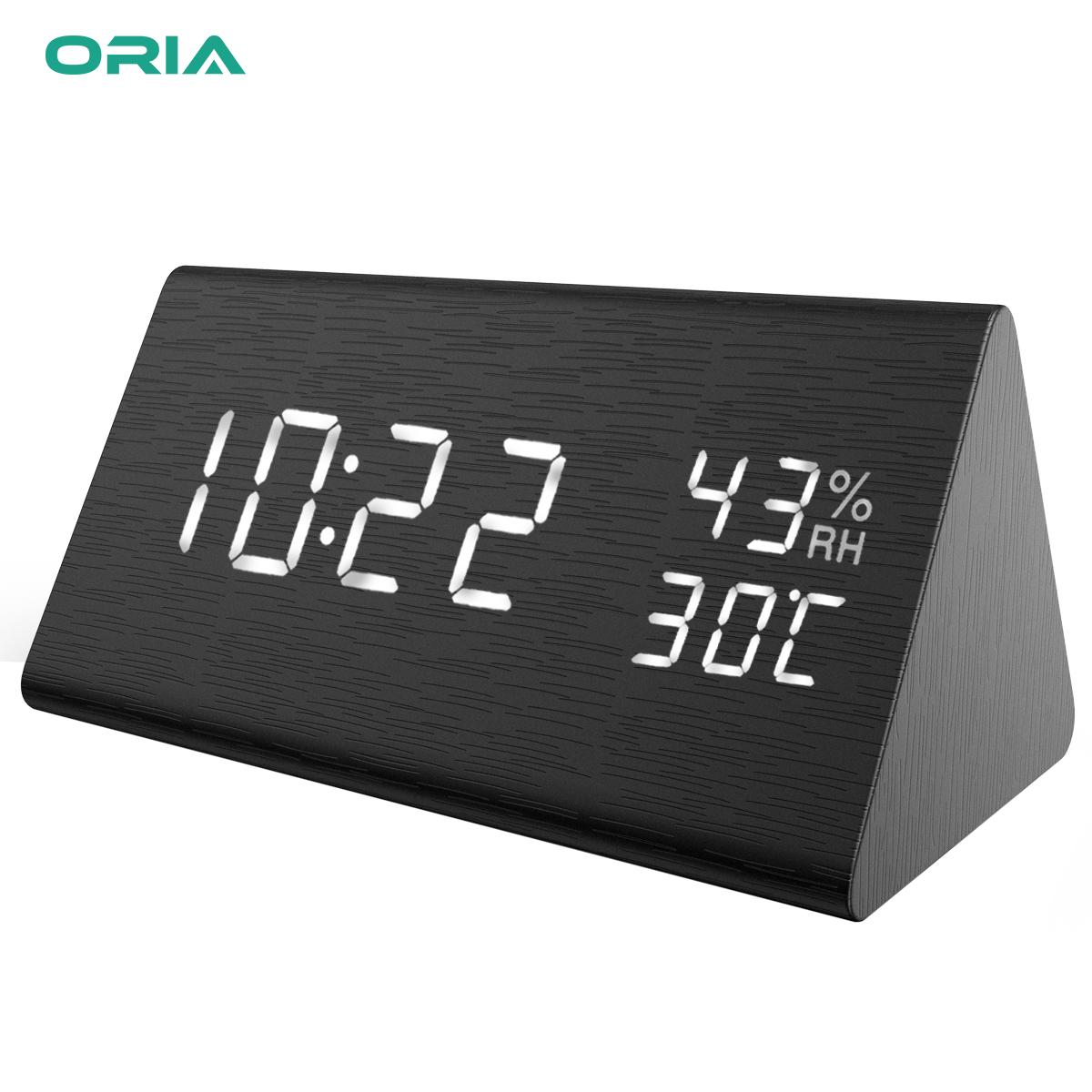 ORIA Wooden Digital Alarm Clock Display Date Temperature & Humidity 3 Levels Brightness Voice Control Smart Voice-Activated with 3 Alarm Sounds for Home Kitchen Bedroom
