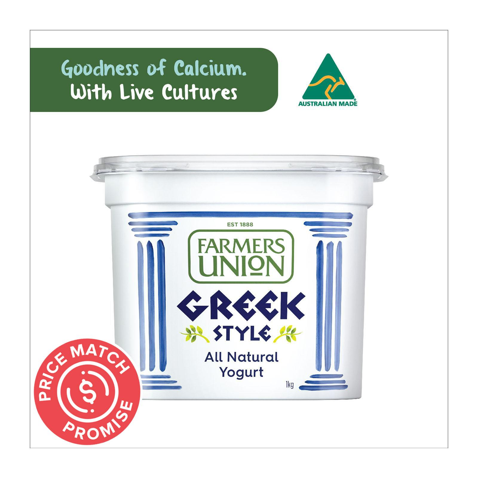 Farmers Union Greek Style Natural Yoghurt 1KG