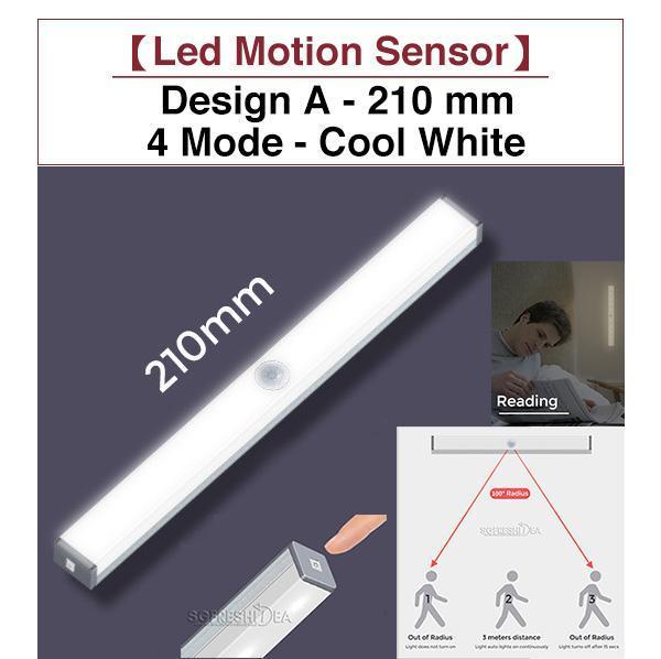 Motion Sensor Detect LED Night Light  210 mm | 297 mm - LED Yellow | White - Portable USB Rechargeable Version Nightlight