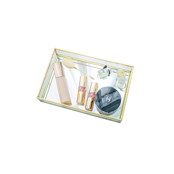 Nordic Minimalist Metal Glass Mirror Tray Rectangular Golden Household Cosmetics Storage Tray Model Room Decoration
