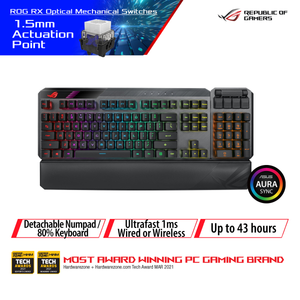 ASUS ROG Claymore II Wireless Modular Gaming Mechanical Keyboard (ROG RX Switches, detachable numpad & wrist rest)