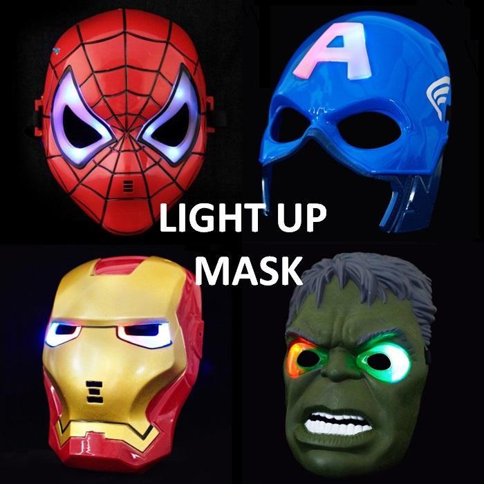fe73369dcdb Marvel Hero Avengers Superhero Spiderman Captain America The Incredible  Hulk Iron Man Face Mask Ironman Kids