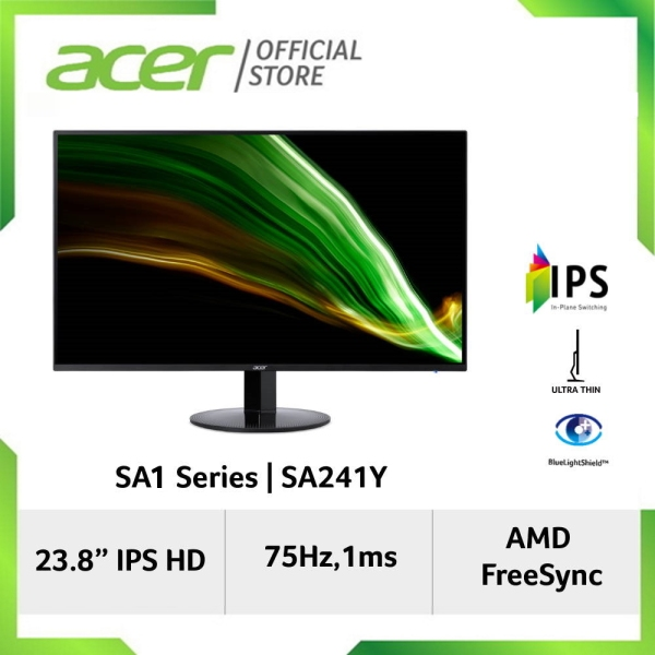 Acer SA241Y 23.8 FHD IPS Ultra-Thin Display Monitor with HDMI Port (BlueLightShield & Flicker-less Technology)