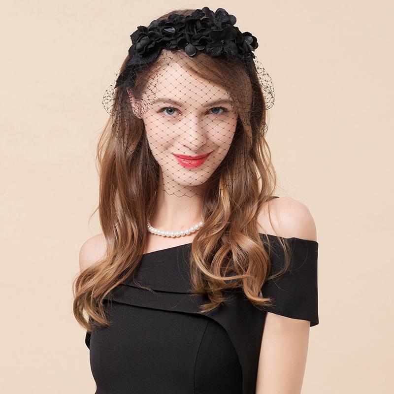 3f7c1c0895cdb Hair Fixer Headband Bride Veil Wedding Dress New Style Korean Style Summer  Female Hat Headband Hair Accessories Black Mesh Female Hair Accessories