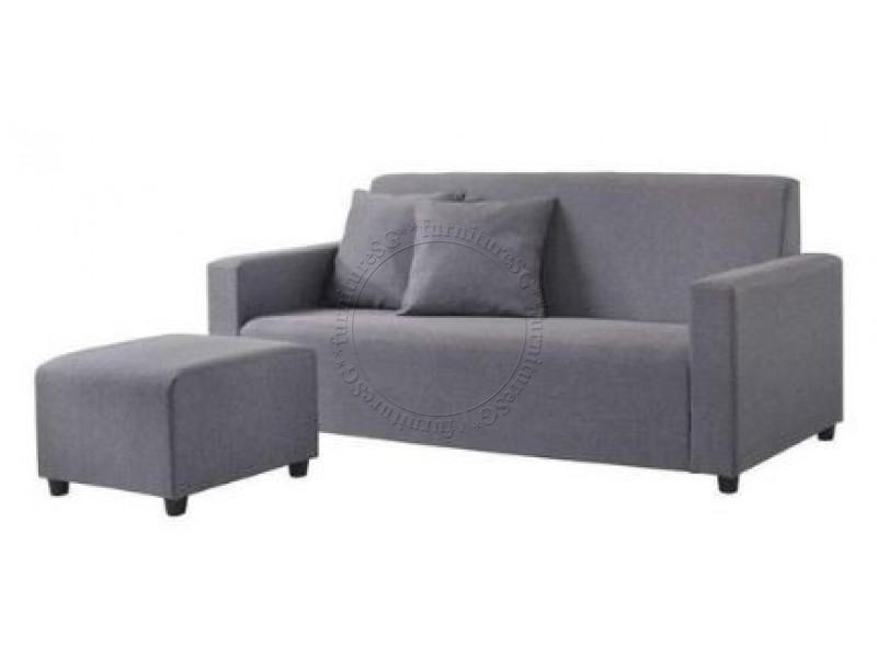 (FurnitureSG) 3-Seater+Stool Fabric Sofa