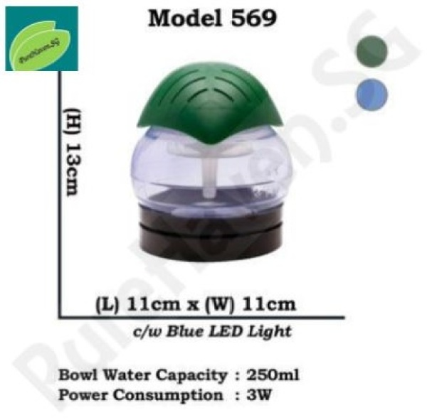 [BNIB] GOOD FOR CAR! Model 569 Mini Water Air Purifier! With Blue LED Lights. 250ml Singapore