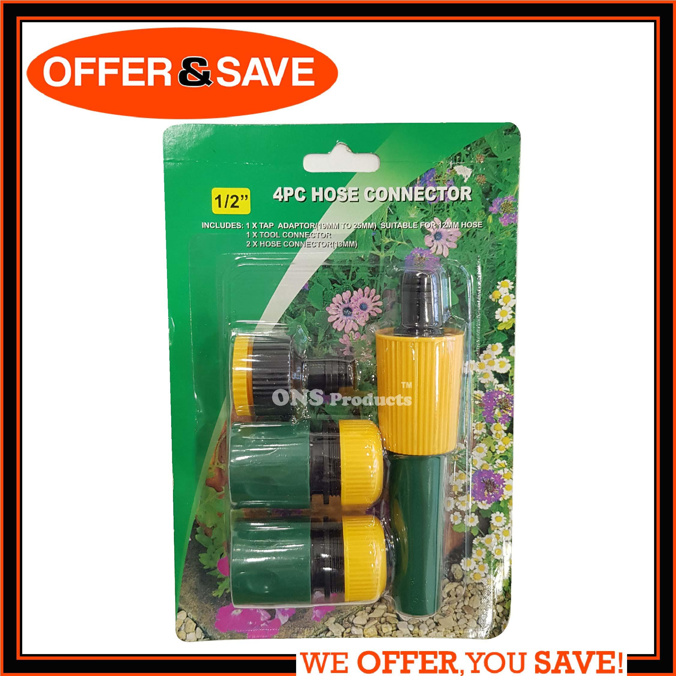 ONS 4pc Hose Connector / Garden Hose Tap Connector Accessory Fitting Water Sprayer Nozzle