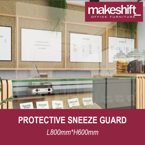 [READY STOCK IN SG] Protective Sneeze Guard L800mm*H600mm – Safety Shield – Transaction Window - Barrier Against Coughing & Sneezing (For Workstations, Restaurants, Doctors Office, TCM, Retail etc) Material: 4 mm Plexiglass