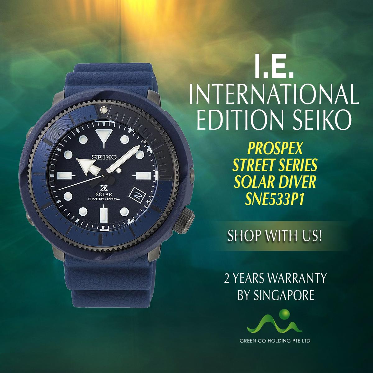SEIKO INTERNATIONAL EDITION PROSPEX STREET SERIES SNE533P1 BLUE DIAL SOLAR DIVER