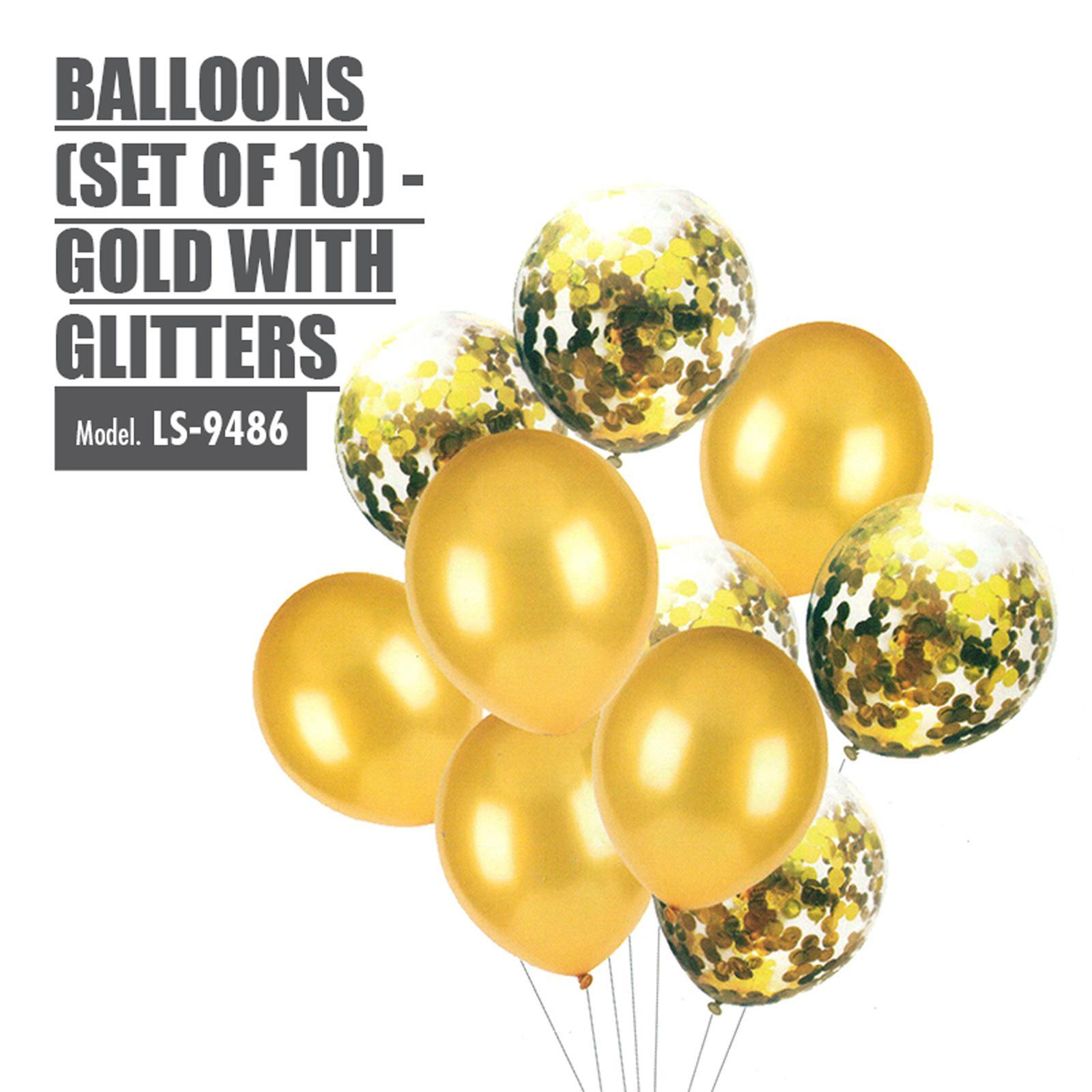 HOUZE Balloons (Set Of 10) - Gold With Glitters