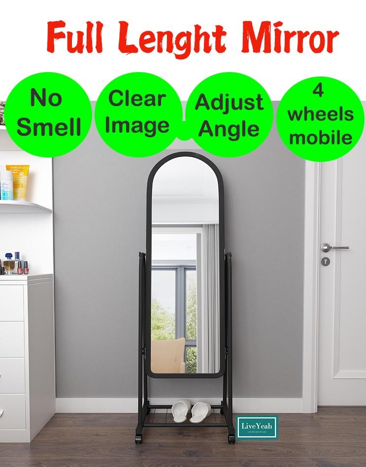 【150cm*38cm/44cm】Full length mirror/Floor Mirror/ Full Length Stand Mirror with Steel Frame 4 Wheels Standing Makeup Dresser / Storage layer