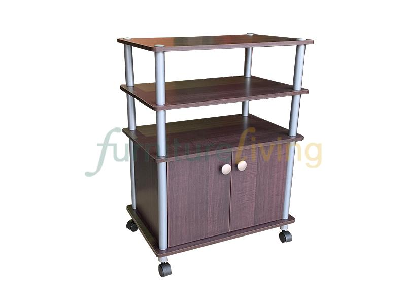 Furniture Living TV Rack Cabinet with Wheels (Walnut)